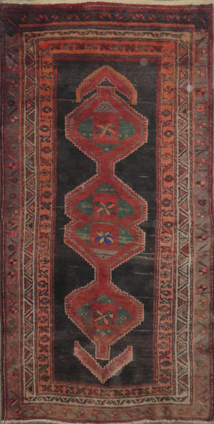 "Persian hamedan Authentic Hand-Knotted Traditonal Vintage Persian Rugs Natural Wool and Cotton Multicolor Area Rug  7'5"" X 3'7"" ABC-PER-2274"