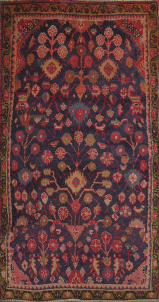 "Persian hamedan Authentic Hand-Knotted Traditonal Vintage Persian Rugs Natural Wool and Cotton Multicolor Area Rug  7'1"" X 3'7"" ABC-PER-2278"