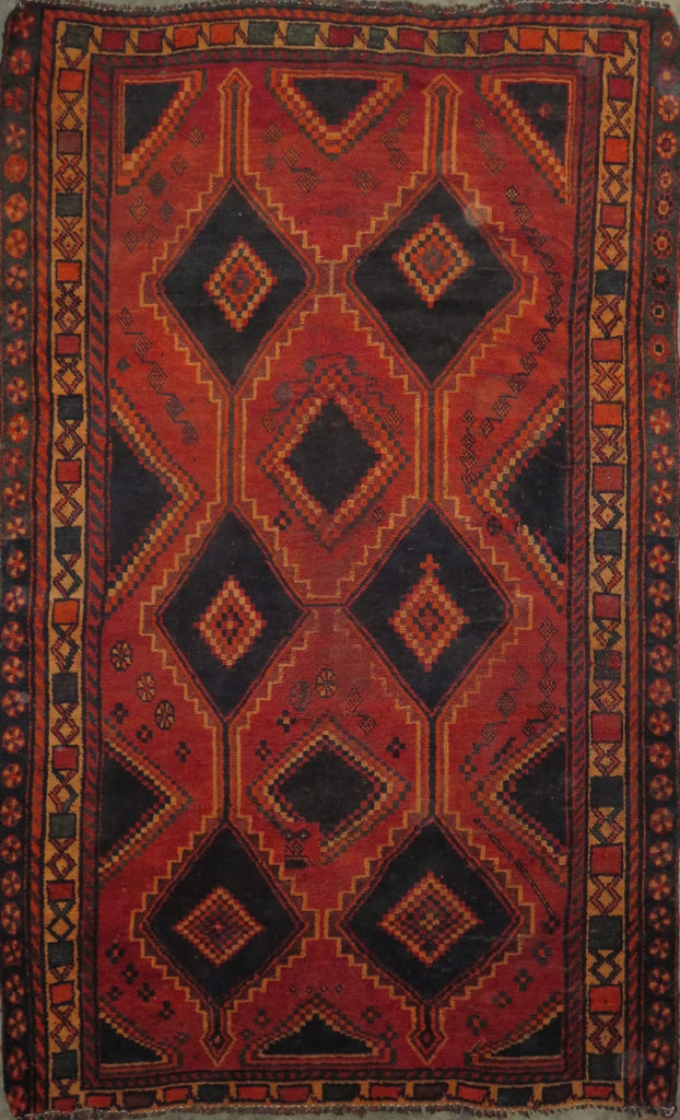 "Persian hamedan Authentic Hand-Knotted Traditonal Vintage Persian Rugs Natural Wool and Cotton Multicolor Area Rug  8'1"" X 5'1"" ABC-PER-2283"
