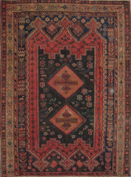 "Persian hamedan Authentic Hand-Knotted Traditonal Vintage Persian Rugs Natural Wool and Cotton Multicolor Area Rug  6'8"" X 5'1"" ABC-PER-2287"