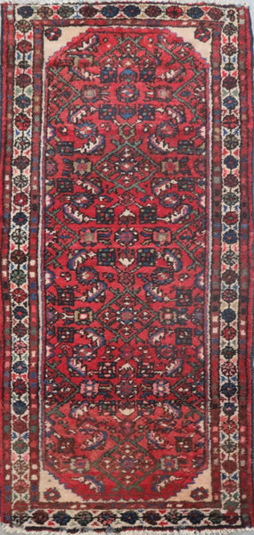 "Persian hamedan Authentic Hand-Knotted Traditonal Vintage Persian Rugs Natural Wool and Cotton Multicolor Area Rug  5'5"" X 2'6"" ABC-PER-2301"