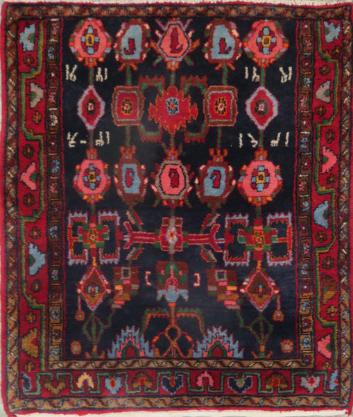 "Persian hamedan Authentic Hand-Knotted Traditonal Vintage Persian Rugs Natural Wool and Cotton Multicolor Area Rug  4'9"" X 4'6"" ABC-PER-2306"