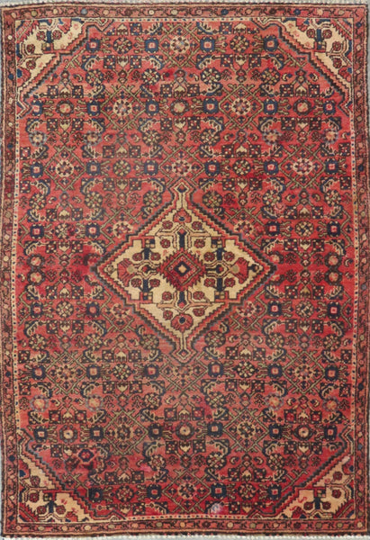 "Persian hamedan Authentic Hand-Knotted Traditonal Vintage Persian Rugs Natural Wool and Cotton Multicolor Area Rug  5'5"" X 3'9"" ABC-PER-2308"