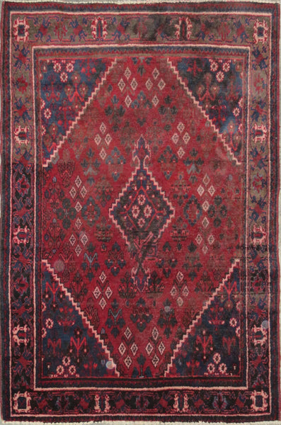 "Persian hamedan Authentic Hand-Knotted Traditonal Vintage Persian Rugs Natural Wool and Cotton Multicolor Area Rug  6'6"" X 4'5"" ABC-PER-2311"