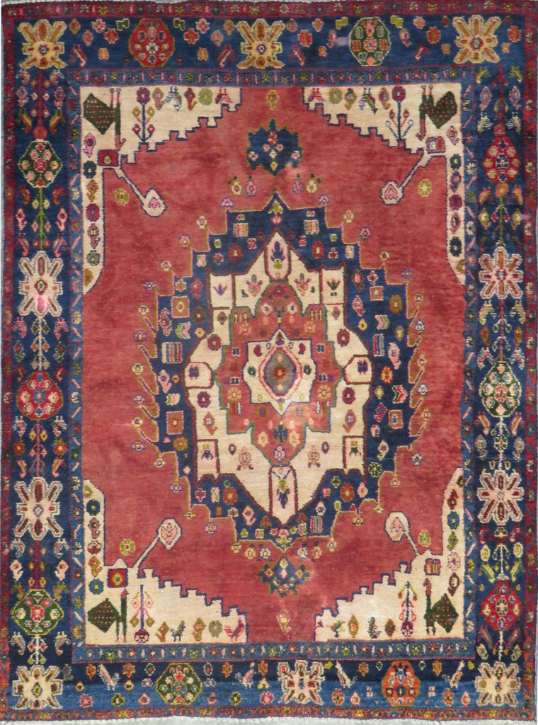 "Persian hamedan Authentic Hand-Knotted Traditonal Vintage Persian Rugs Natural Wool and Cotton Multicolor Area Rug  6'10"" X 5'3"" ABC-PER-2331"