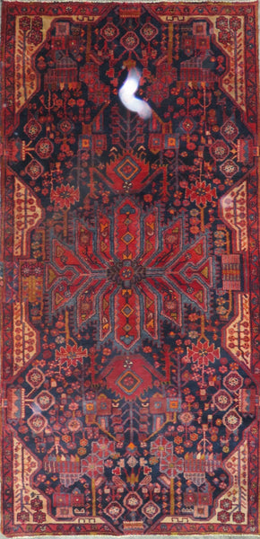 "Persian hamedan Authentic Hand-Knotted Traditonal Vintage Persian Rugs Natural Wool and Cotton Multicolor Area Rug  9'8"" X 4'7"" ABC-PER-2342"
