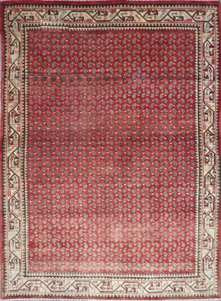 "Persian hamedan Authentic Hand-Knotted Traditonal Vintage Persian Rugs Natural Wool and Cotton Multicolor Area Rug  6'4"" X 4'9"" ABC-PER-2345"