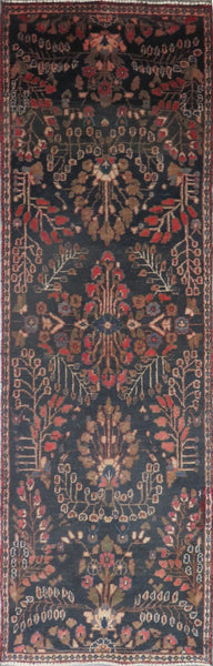 "Persian hamedan Authentic Hand-Knotted Traditonal Vintage Persian Rugs Natural Wool and Cotton Multicolor Area Rug  9'4"" X 2'8"" ABC-PER-2362"