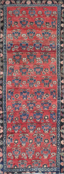 "Persian hamedan Authentic Hand-Knotted Traditonal Vintage Persian Rugs Natural Wool and Cotton Multicolor Area Rug  8'7"" X 3'2"" ABC-PER-2394"