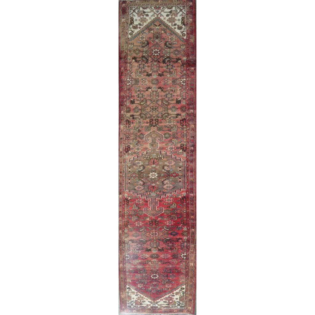 "Persian hamedan Authentic Hand-Knotted Traditonal Vintage Persian Rugs Natural Wool and Cotton Multicolor Area Rug  13'5"" X 2'9"" ABC-PER-2420"