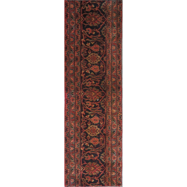 "Persian hamedan Authentic Hand-Knotted Traditonal Vintage Persian Rugs Natural Wool and Cotton Multicolor Area Rug  4'7"" X 1'0"" ABC-PER-257"