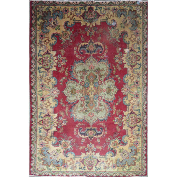 "Persian tabriz Authentic Hand-Knotted Traditonal Vintage Persian Rugs Natural Wool and Cotton Multicolor Area Rug  9'9"" X 6'6"" ABC-PER-473"