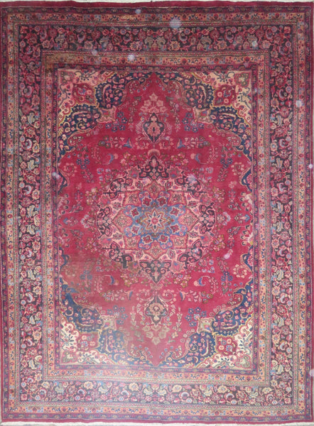 "Persian mashhad Authentic Hand-Knotted Traditonal Vintage Persian Rugs Natural Wool and Cotton Multicolor Area Rug  11'2"" X 7'9"" ABC-PER-483"