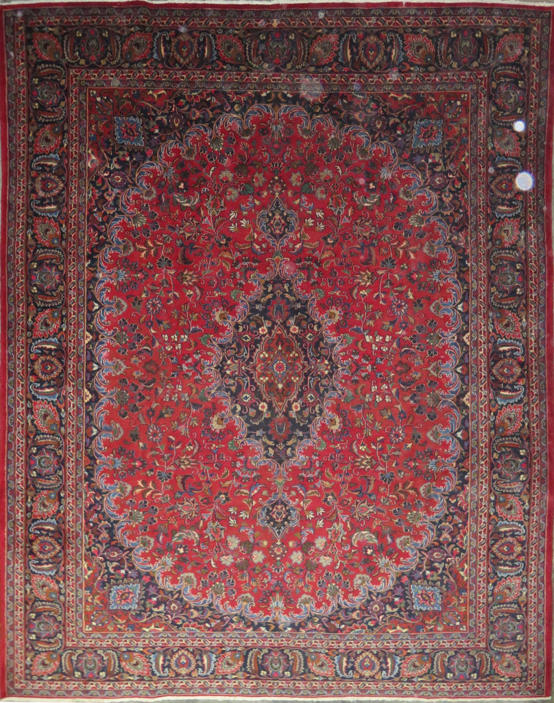"Persian mashhad Authentic Hand-Knotted Traditonal Vintage Persian Rugs Natural Wool and Cotton Multicolor Area Rug  12'6"" X 9'6"" ABC-PER-486"