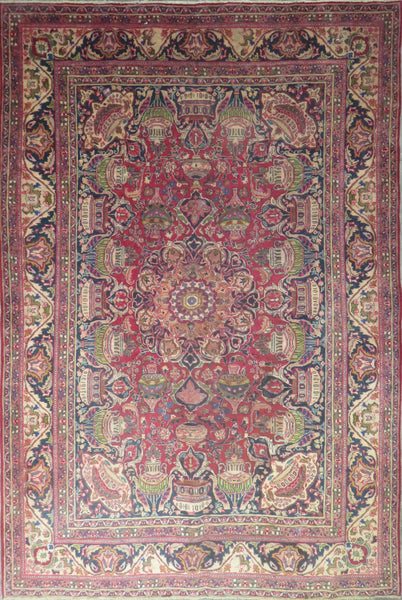 "Persian mashhad Authentic Hand-Knotted Traditonal Vintage Persian Rugs Natural Wool and Cotton Multicolor Area Rug  11'5"" X 7'6"" ABC-PER-488"