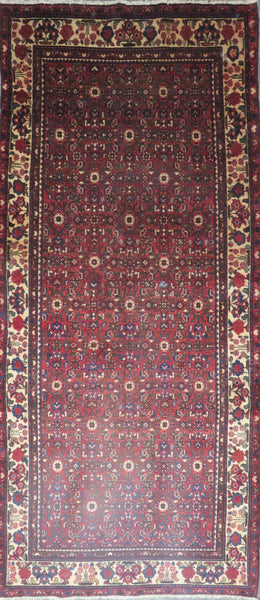 "Persian hamedan Authentic Hand-Knotted Traditonal Vintage Persian Rugs Natural Wool and Cotton Multicolor Area Rug  10'9"" X 4'9"" ABC-PER-637"