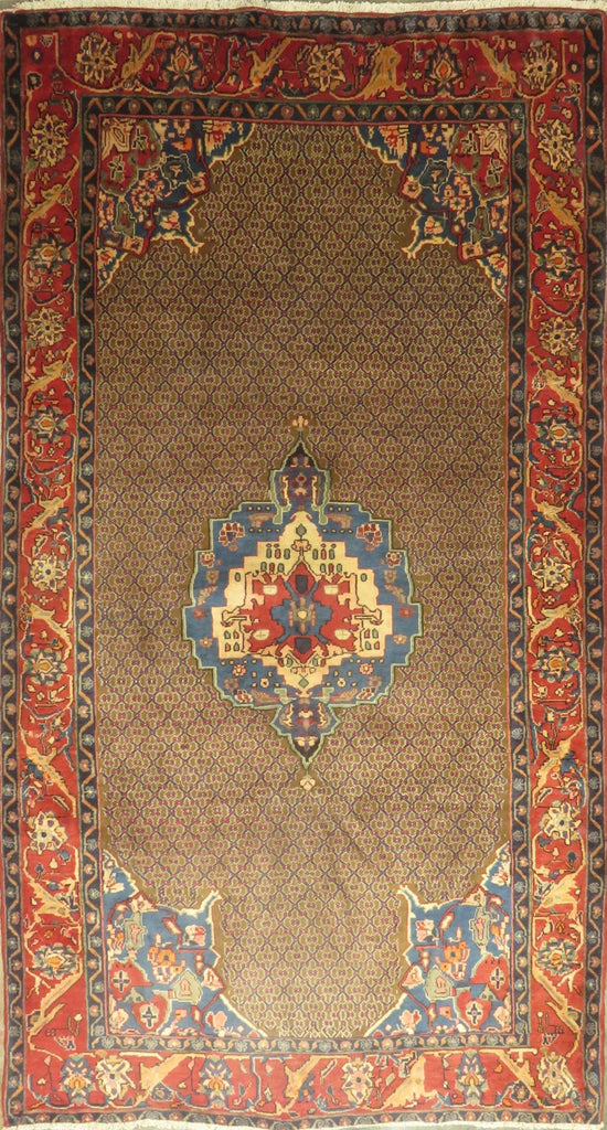 "Persian hamedan Authentic Hand-Knotted Traditonal Vintage Persian Rugs Natural Wool and Cotton Multicolor Area Rug  9'1"" X 4'8"" ABC-PER-639"