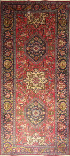 "Persian hamedan Authentic Hand-Knotted Traditonal Vintage Persian Rugs Natural Wool and Cotton Multicolor Area Rug  10'3"" X 4'5"" ABC-PER-642"