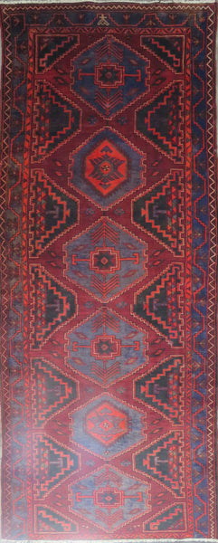 "Persian hamedan Authentic Hand-Knotted Traditonal Vintage Persian Rugs Natural Wool and Cotton Multicolor Area Rug  12'6"" X 4'8"" ABC-PER-643"