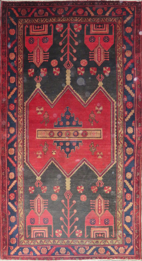 "Persian hamedan Authentic Hand-Knotted Traditonal Vintage Persian Rugs Natural Wool and Cotton Multicolor Area Rug  8'9"" X 4'9 ABC-PER-645"