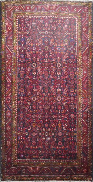 "Persian hamedan Authentic Hand-Knotted Traditonal Vintage Persian Rugs Natural Wool and Cotton Multicolor Area Rug  9'3"" X 4'9"" ABC-PER-654"