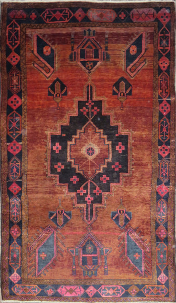 "Persian hamedan Authentic Hand-Knotted Traditonal Vintage Persian Rugs Natural Wool and Cotton Multicolor Area Rug  8'7"" X 4'9"" ABC-PER-661"