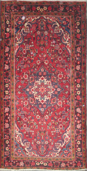 "Persian hamedan Authentic Hand-Knotted Traditonal Vintage Persian Rugs Natural Wool and Cotton Multicolor Area Rug  9'7"" X 5'0"" ABC-PER-679"