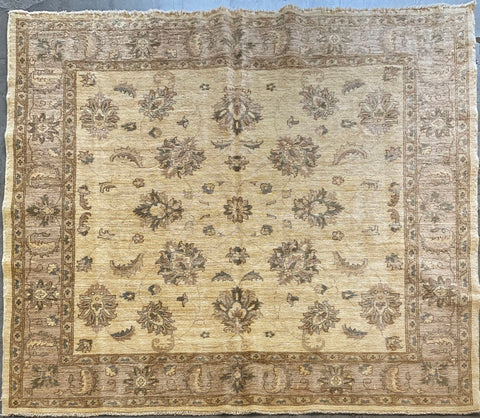 PAKISTANI PESHAWAR HAND-KNOTTED RUG MADE WITH NATURAL WOOL AND COTTON 6'7'' X 6'8''  ABC00058