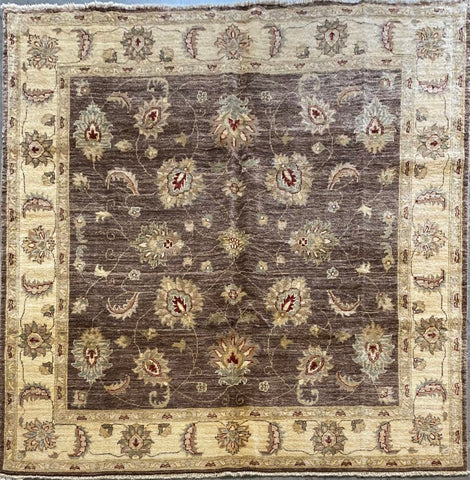 PAKISTANI PESHAWAR HAND-KNOTTED RUG MADE WITH NATURAL WOOL AND COTTON 6'8'' X 6'6''  ABCR01716