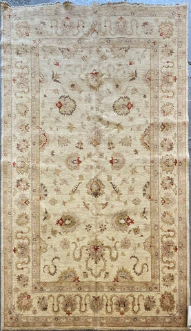PAKISTANI PESHAWAR TRADITIONAL HAND-KNOTTED RUG MADE WITH NATURAL WOOL AND COTTON 8'9'' X 5'11''  ABCR01741