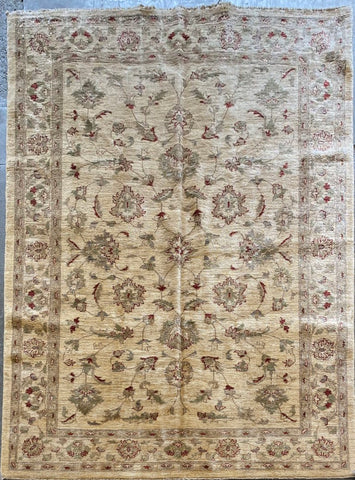 PAKISTANI PESHAWAR TRADITIONAL HAND-KNOTTED RUG MADE WITH NATURAL WOOL AND COTTON 6'0'' X 6'8''  ABCR05