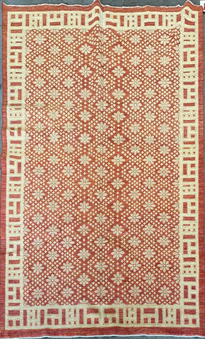 AFGHANI TRADITIONAL HAND-KNOTTED RUG MADE WITH NATURAL WOOL 6'4'' X 9'2'  ABC-MP1468