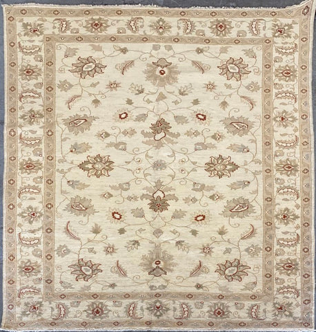 PAKISTANI PESHAWAR TRADITIONAL HAND-KNOTTED RUG MADE WITH NATURAL WOOL AND COTTON 8'8'' X 6'0''  ABCR1789