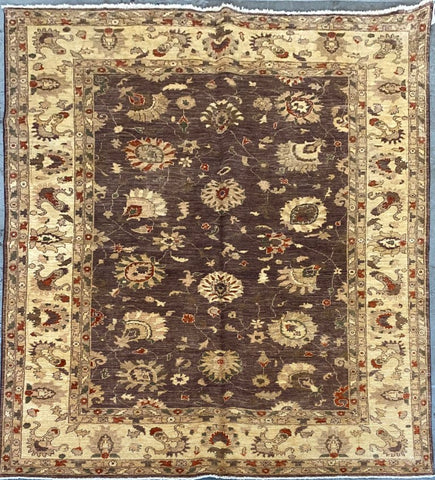 PAKISTANI PESHAWAR TRADITIONAL HAND-KNOTTED RUG MADE WITH NATURAL WOOL AND COTTON 8'10'' X 6'1''  ABCR01744