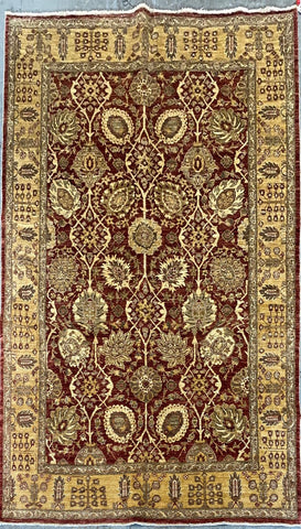 PAKISTANI TRADITIONAL HAND-KNOTTED RUG MADE WITH NATURAL WOOL AND COTTON 9'0'' X 6'0''  ABC-PK10081