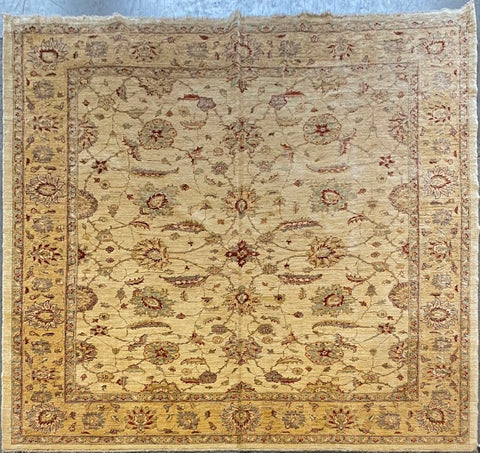 PAKISTANI PESHAWAR TRADITIONAL HAND-KNOTTED RUG MADE WITH NATURAL WOOL AND COTTON 8'10'' X 8'3''  ABCR01768