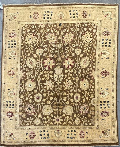 PAKISTANI PESHAWAR TRADITIONAL HAND-KNOTTED RUG MADE WITH NATURAL WOOL AND COTTON 9'9'' X 8'0''  ABCR01806