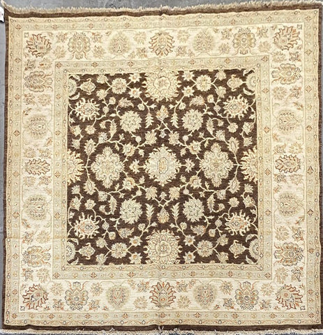PAKISTANI TRADITIONAL HAND-KNOTTED RUG MADE WITH NATURAL WOOL AND COTTON 9'0'' X 9'0''  ABC10676