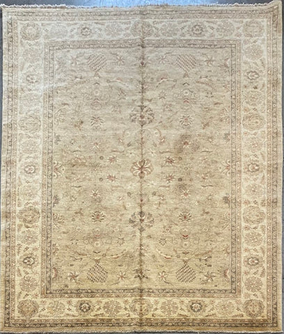 PAKISTANI PESHAWAR TRADITIONAL HAND-KNOTTED RUG MADE WITH NATURAL WOOL AND COTTON 9'11'' X 8'3''  ABCR03162
