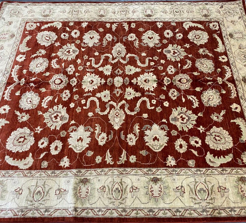 "Pakistani Traditional Style Hand-Knotted Natural Wool and Cotton Rug from Peshawar 9'9'' X 7'11"" ABCPK01794"