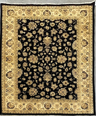 "Pakistani Traditional Style Hand-Knotted Natural Wool and Cotton Rug from Peshawar 9'11'' X 8'9"" ABCPK01826"