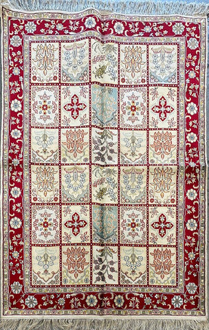 Turkish Traditional Style Hand-Knotted Natural Silk Rug 6' X 4' ABCTK002