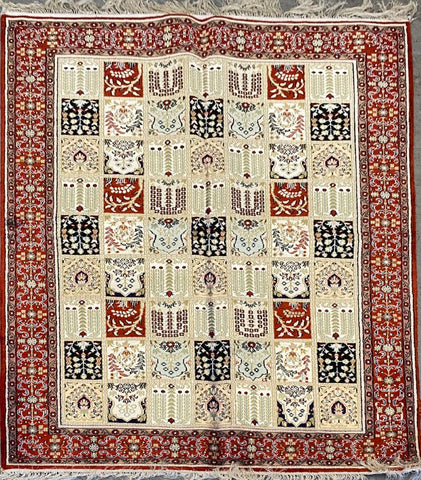 Turkish Traditional Style Hand-Knotted Silk Rug 5'10'' X 4'0'' ABCTK006