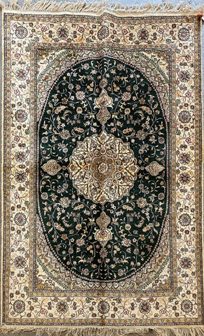 Turkish Traditional Style Hand-Knotted 100% Silk Rug 183cm X 122cm ABCTK032