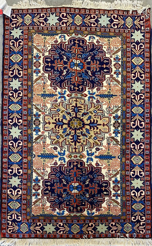 Turkish Traditional Style Hand-Knotted 100% Silk and Wool  Rug 5'1'' X 3'5'' ABCTK02109