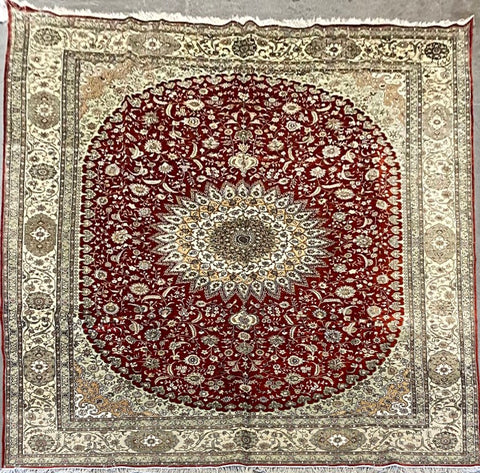 Turkish Traditional Style Hand-Knotted 100% Silk and Wool  Rug 14' X 10' ABCTK013