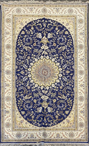 Turkish Traditional Style Hand-Knotted 100% Silk and Wool  Rug 8' X 5' ABCTK009