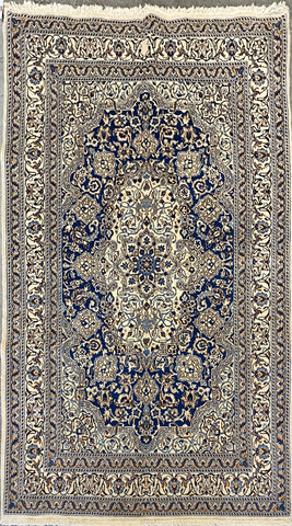 "Persian Nain Traditional Style Hand-Knotted Natural Wool and Cotton Rug  8'7'' X 5'6"" ABCR02795"
