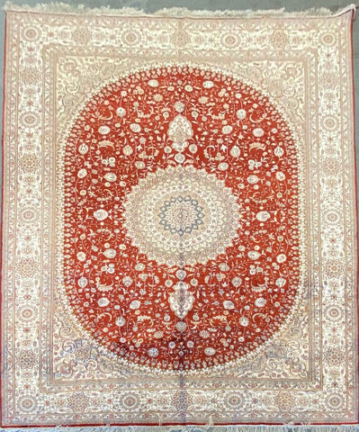 Turkish Traditional Style Hand-Knotted 100% Silk Rug 12' X 9' ABCTK011