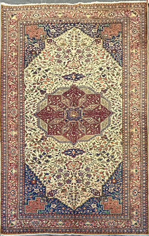 Turkish Traditional Style Hand-Knotted 100% Natural Wool and Cotton Rug 6'6'' X 9'9'' ABCTK003
